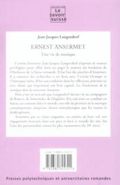 Ernest ansermet une vie de musique - 4ème de couverture - Format classique