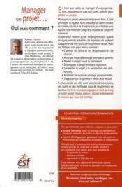 Management de projet ; oui, mais comment ? - 4ème de couverture - Format classique