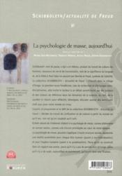 La psychologie de masse aujourd'hui - 4ème de couverture - Format classique