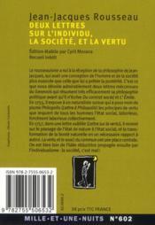 Deux lettres sur l'individu, la société et la vertu - 4ème de couverture - Format classique
