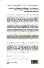 Une antique migration amérindienne ; les liaisons techniques sociologiques mythologiques anthropologiques entre l'Amérique du Nord et le Chaco sud-américain - 4ème de couverture - Format classique