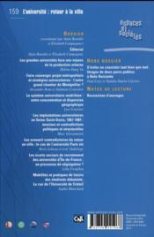 Revue espaces et sociétés N.159 ; l'université : retour en ville ? - 4ème de couverture - Format classique