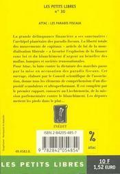 Les Paradis Fiscaux Ou La Finance Hors La Loi - 4ème de couverture - Format classique