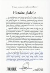 Histoire globale ; un autre regard sur le monde - 4ème de couverture - Format classique