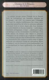 Les magistrats ouest-allemands font l'histoire ; la Zentrale Stelle de Ludwigsburg - 4ème de couverture - Format classique