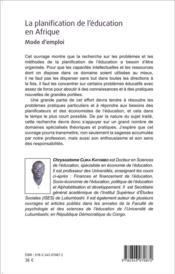 Planification de l'éducation en Afrique ; mode d'emploi - 4ème de couverture - Format classique