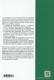 L'Anglais Des Specialites Medicales - 4ème de couverture - Format classique