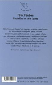 Nouvelles en trois lignes - 4ème de couverture - Format classique