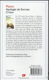 Apologie de Socrate-criton - 4ème de couverture - Format classique