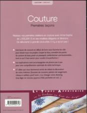 Couture premières leçons - 4ème de couverture - Format classique