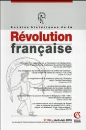 Annales historiques de la révolution française N.384 ; avril/juin 2015 - Couverture - Format classique