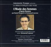 L'Iliade des femmes ; récit homérique à deux voix - 4ème de couverture - Format classique