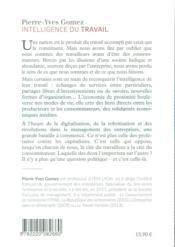Intelligence du travail - 4ème de couverture - Format classique