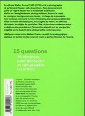 Walker Evans en 15 questions - 4ème de couverture - Format classique