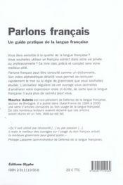 Parlons francais ; ecrire et s'exprimer en francais - 4ème de couverture - Format classique