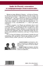 Andre de Peretti : rencontres et compagnonnages franco-marocains ; entretien avec Gaston Pineau - 4ème de couverture - Format classique