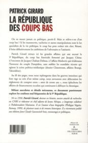 La république des coups bas ; 50 ans de trahisons en politique - 4ème de couverture - Format classique