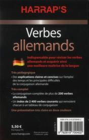 Verbes allemands - 4ème de couverture - Format classique