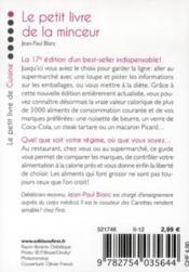 Le petit livre de la minceur (édition 2012) - 4ème de couverture - Format classique