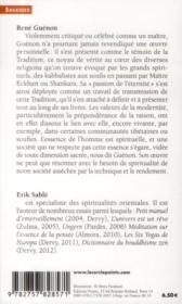 René Guénon ; le visage de l'éternité - 4ème de couverture - Format classique