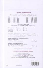 L'Annee Epigraphique ; 2010 - 4ème de couverture - Format classique