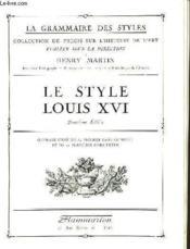 Le Style Louis Xvi - Couverture - Format classique
