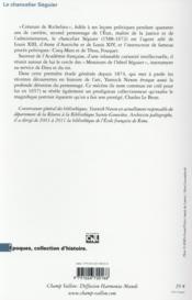 Le chancelier Séguier (1588-1672) - 4ème de couverture - Format classique