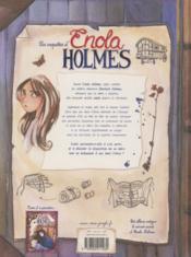 Les enquêtes d'Enola Holmes T.1 ; la double disparition - 4ème de couverture - Format classique