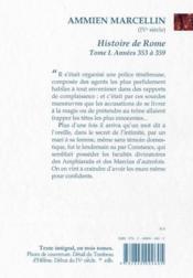 Histoire de Rome t.1 ; 353 à 359 : l'empereur Constance II - 4ème de couverture - Format classique