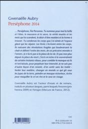 Perséphone 2014 - 4ème de couverture - Format classique