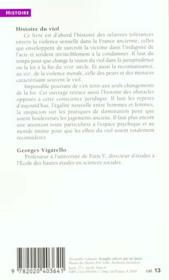 Histoire du viol ; XVI-XXe siècle - 4ème de couverture - Format classique