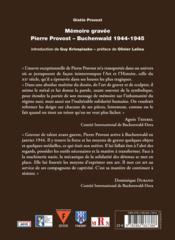 Mémoire gravée ; Pierre Provost-Buchenwald 1944-1945 - 4ème de couverture - Format classique