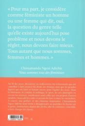 Agenda chimamanda ; nous sommes tous des féministes (édition 2021) - 4ème de couverture - Format classique