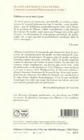 Platon, les mots et les mythes ; comment et pourquoi Platon nomma le mythe ? - 4ème de couverture - Format classique