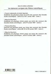 Problemes Corriges De Physique Chimie Concours Scientifiques Tome 4 1998 Serie Pt - 4ème de couverture - Format classique