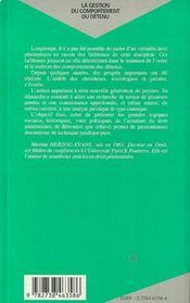 La Gestion Du Comportement Du Detenu : Essai De Droit Penitentiaire - 4ème de couverture - Format classique