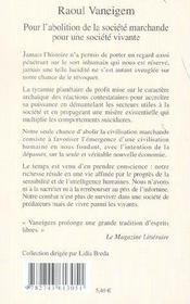 Pour L'Abolition De La Societe Marchande Pour Une Societe Vivante - 4ème de couverture - Format classique