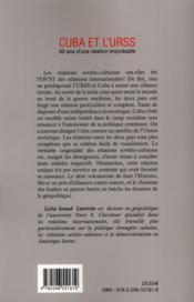 Cuba et l'URSS ; 30 ans d'une relation improbable - 4ème de couverture - Format classique