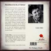 Recettes, à la vie, à l'amour - 4ème de couverture - Format classique