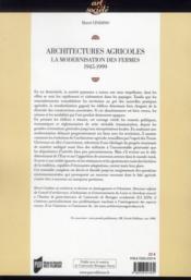 Architectures agricoles ; la modernisation des fermes 1945-1999 - 4ème de couverture - Format classique