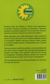 Vivre mieux ; vers une société écologique - 4ème de couverture - Format classique