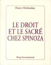 Le droit et le sacré chez Spinoza - Couverture - Format classique