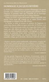 Hommage a jacques riviere - 4ème de couverture - Format classique