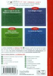 LE BIBLIOBUS T.36 ; CE2 cycle 3 ; histoires policières ; qui a volé le sac de Madame Choumpette et autres récits ; livre de l'élève - 4ème de couverture - Format classique