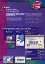 IFSI ; l'épreuve écrite de culture générale ; concours 2014 - 4ème de couverture - Format classique
