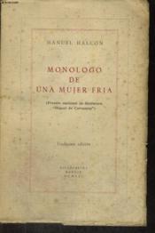Monologo De Una Mujer Fria - Couverture - Format classique