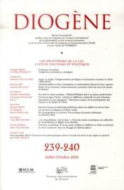 Revue Diogene N.239 ; T.240 ; Les Frontières De La Loi - Couverture - Format classique