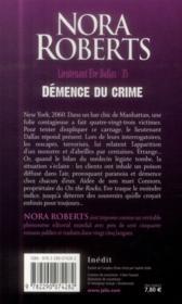 Lieutenant Eve Dallas T.35 ; démence du crime - 4ème de couverture - Format classique