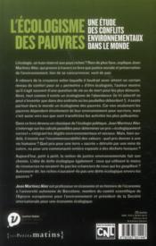 L'écologisme des pauvres ; une étude des conflits environnementaux dans le monde - 4ème de couverture - Format classique