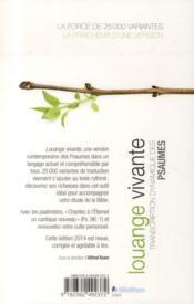 Louange vivante ; transcription dynamique des Psaumes - 4ème de couverture - Format classique